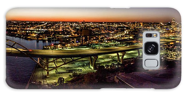 Galaxy Case featuring the photograph Hoan Bridge At Dusk Panorama by Randy Scherkenbach