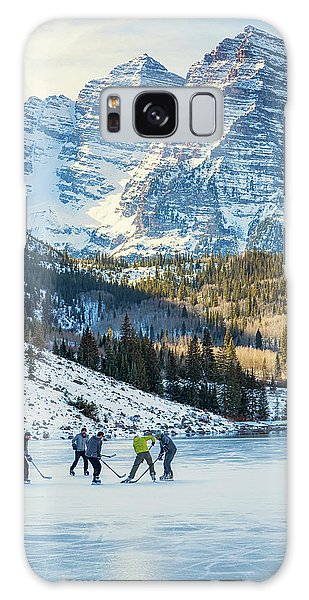 Galaxy Case featuring the photograph Hockey On Maroon Lake Maroon Bells Aspen Colorado by Nathan Bush