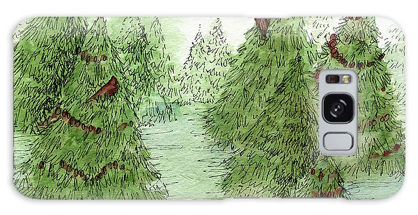 Holiday Trees Woodland Landscape Illustration Galaxy Case