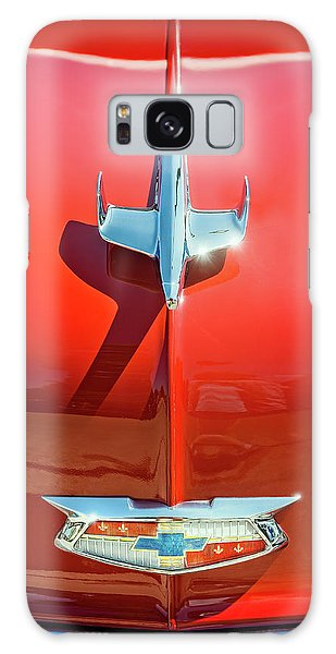 Old Car Galaxy Case - Hood Ornament On A Red 55 Chevy by Scott Norris