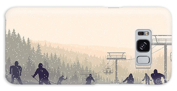 Horizontal Galaxy Case - Horizontal Vector Illustration Skiers by Vertyr