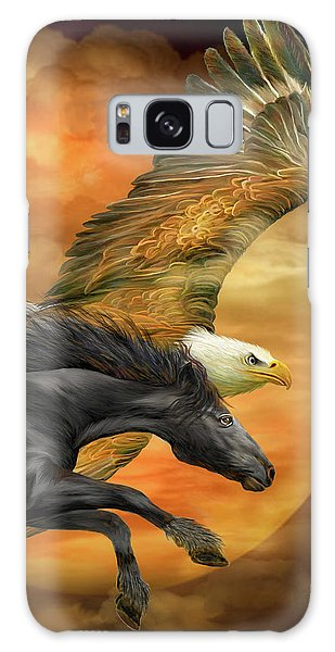 Galaxy Case featuring the mixed media Horse And Eagle - Spirits Of The Wind  by Carol Cavalaris