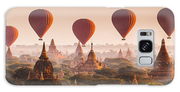 Spirituality Galaxy Case - Hot Air Balloon Over Plain Of Bagan At by Lkunl