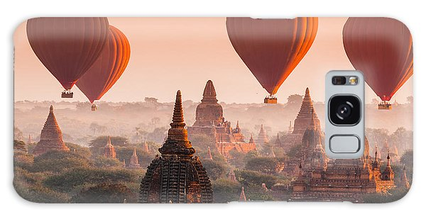 Spirituality Galaxy Case - Hot Air Balloon Over Plain Of Bagan In by Lkunl