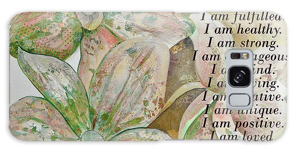 Divine Galaxy Case - I Am...positive Affirmation In Coral And Green by Shadia Derbyshire