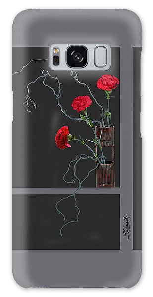 Red Carnations And Bamboo Vase Galaxy Case