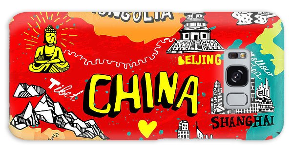 Buddhism Galaxy Case - Illustrated Map Of China by Daria i