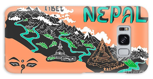 Buddhism Galaxy Case - Illustrated Map Of Nepal by Daria i