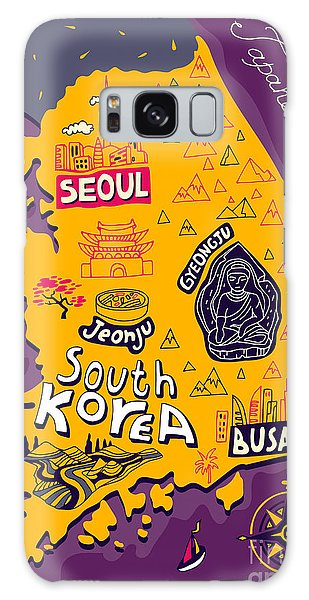 Buddhism Galaxy Case - Illustrated Map Of South Korea by Daria i