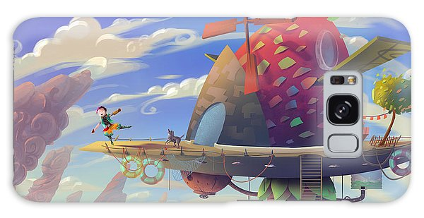 Spaceship Galaxy Case - Illustration The Kid And Dog Are Very by Nextmarsmedia