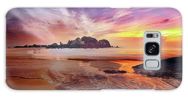 Incoming Tide At Sunset Galaxy Case