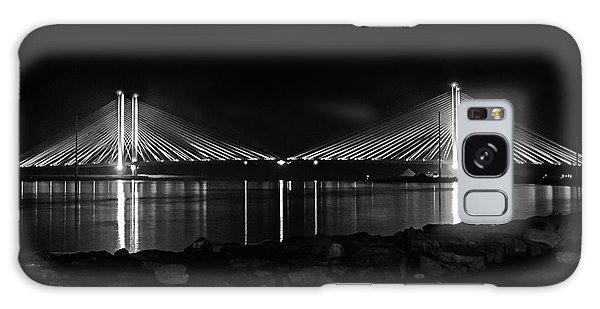 Indian River Bridge After Dark In Black And White Galaxy Case