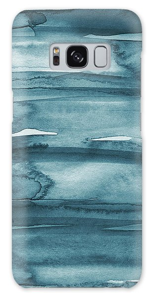 Iphone Case Galaxy Case - Indigo Water- Abstract Painting by Linda Woods