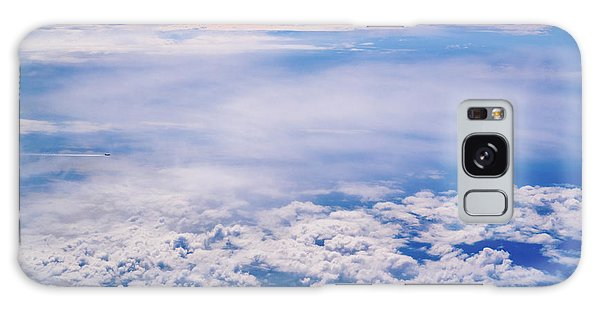 Intense Blue Sky With White Clouds And Plane Crossing It, Seen From Above In Another Plane. Galaxy Case
