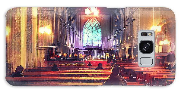 Spirituality Galaxy Case - Interior View Of A Church,digital by Tithi Luadthong
