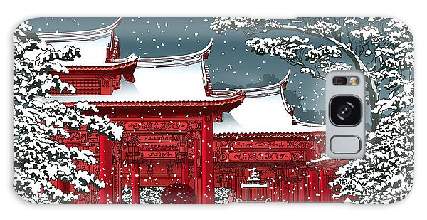 Buddhism Galaxy Case - Japanese Or Chinese Temple Under Snow - by Isaxar