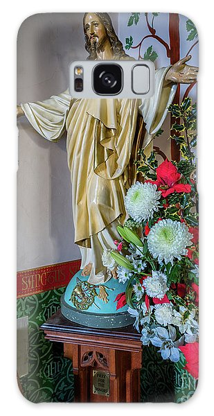 Sacred Heart Galaxy Case - Jesus Christ With Flowers by Adrian Evans