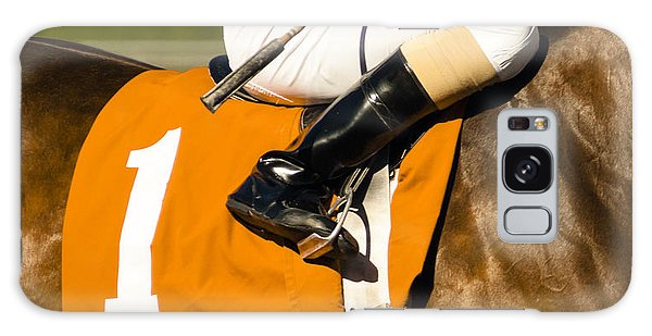 Horizontal Galaxy Case - Jockey Rides Horse Along Track by Christopher Boswell