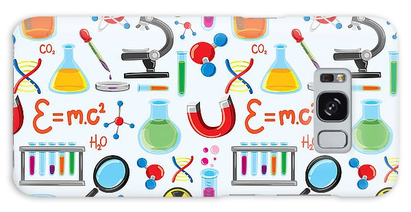 Scientific Illustration Galaxy Case - Laboratory Equipment Seamless Background by Mhatzapa