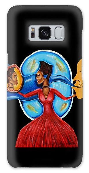 African Goddess Lady In Red Afrocentric Art Mother Earth Black Woman Art Galaxy Case