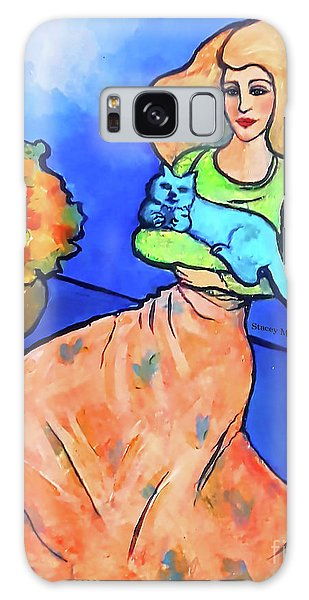 Lady With Blue Cat Galaxy Case