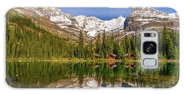 Moraine Lake Galaxy Case - Lake Ohara Lodge Cottages Morning Light by Mike Reid