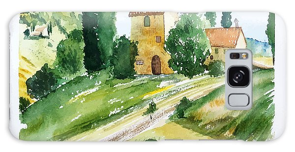 Farmland Galaxy Case - Landscape With Houses, Watercolor by Jullyg