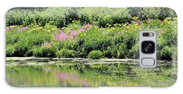 Lavender And Gold Reflections At Chicago Botanical Gardens Galaxy Case