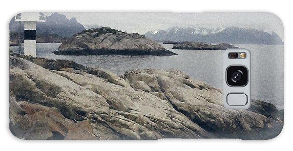 Lighthouse On Rocks Near The Atlantic Coast, Digital Art Oil Pai Galaxy Case