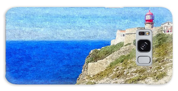 Lighthouse On Top Of A Cliff Overlooking The Blue Ocean On A Sunny Day, Painted In Oil On Canvas. Galaxy Case