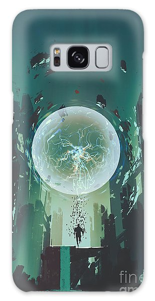 Glow Galaxy Case - Lightning Ball And Geometry In The Form by Tithi Luadthong