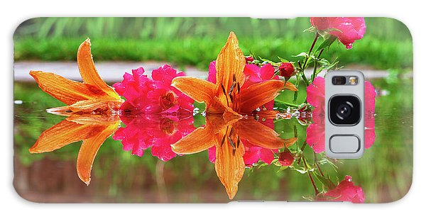 Lilies And Roses Reflection Galaxy Case