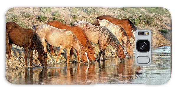 Lineup At The Pond-- Wild Horses Galaxy Case