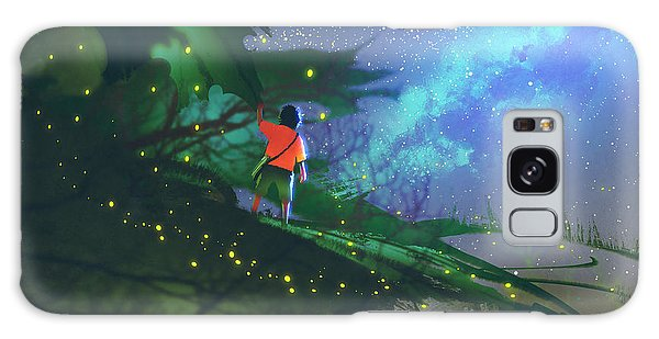 Milky Way Galaxy Case - Little Boy Standing On Giant Leaves by Tithi Luadthong