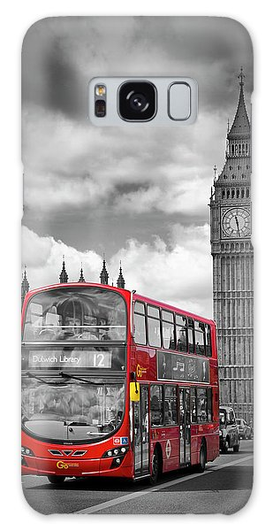 Houses Of Parliament Galaxy Case - London Houses Of Parliament And Red Bus by Melanie Viola