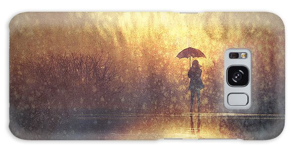 Majestic Galaxy Case - Lonely Woman With Umbrella In by Tithi Luadthong