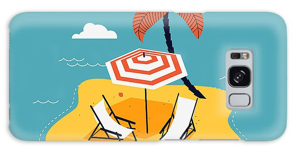 Seagulls Galaxy Case - Lovely Vector Abstract Island Paradise by Mascha Tace