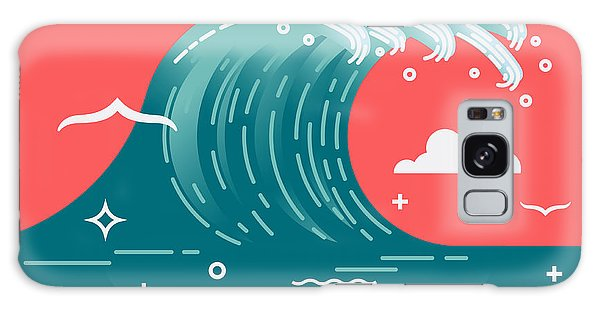Seagulls Galaxy Case - Lovely Vector Background On Large Ocean by Mascha Tace