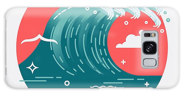 Seagulls Galaxy Case - Lovely Vector Web Icon On Large Ocean by Mascha Tace