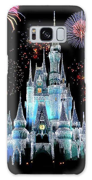 Town Square Galaxy Case - Magic Kingdom Castle In Frosty Light Blue With Fireworks 06 by Thomas Woolworth