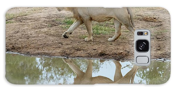 Male Lion And His Reflection Galaxy Case