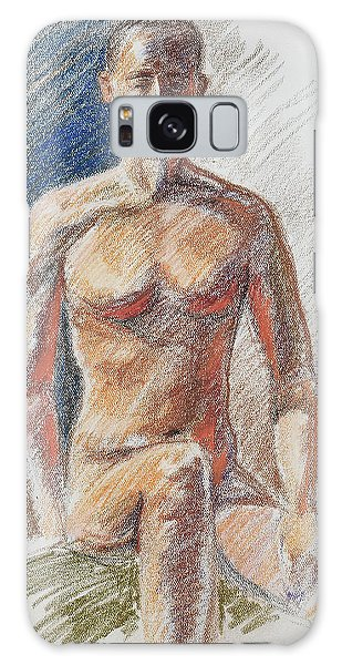 Sitting Nude Galaxy Case - Male Torso Study In Pastel  by Irina Sztukowski