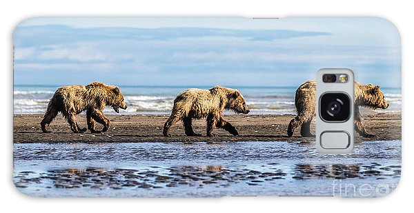 Mama Bear And Her Two Cubs On The Beach. Galaxy Case