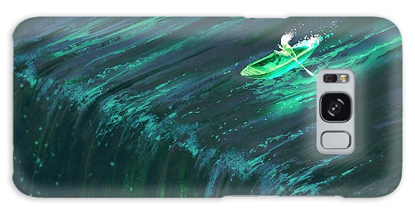 Glow Galaxy Case - Man Rowing In Glowing Green Boat Near by Tithi Luadthong
