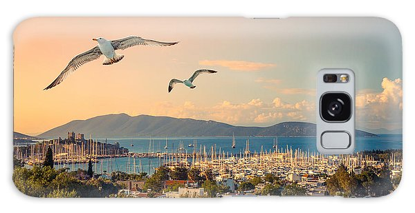 Seagulls Galaxy Case - Marine Landscape With Yachts In A by Repina Valeriya