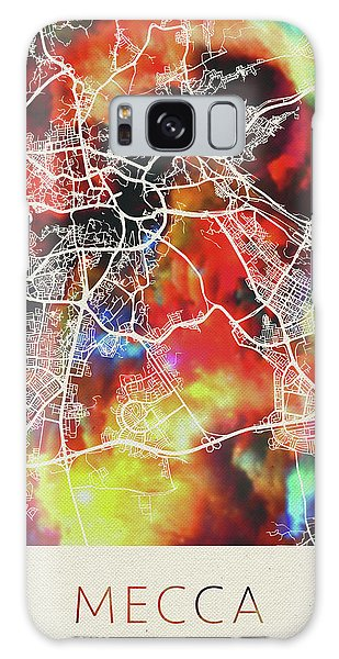 Islam Galaxy Case - Mecca Saudi Arabia Watercolor City Street Map by Design Turnpike