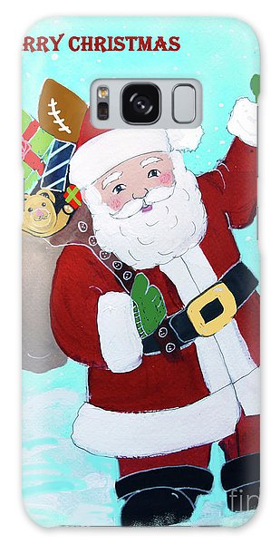 Galaxy Case featuring the painting Merry Christmas Santa With Toy Sack by Robin Maria Pedrero