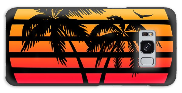 Front Galaxy Case - Miami 80s Tropical Sunset by Filip Hellman