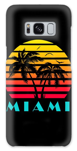 Any Galaxy Case - Miami 80s Tropical Sunset by Filip Hellman