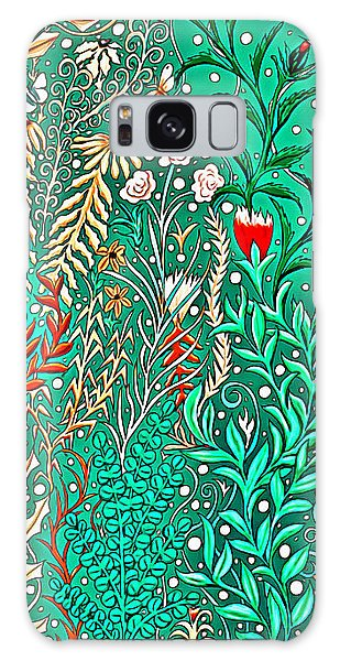 Millefleurs Home Decor Design In Brilliant Green And Light Oranges With Leaves And Flowers Galaxy Case